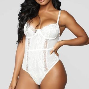 Fashionnova White Someone To Love II Lace Teddy